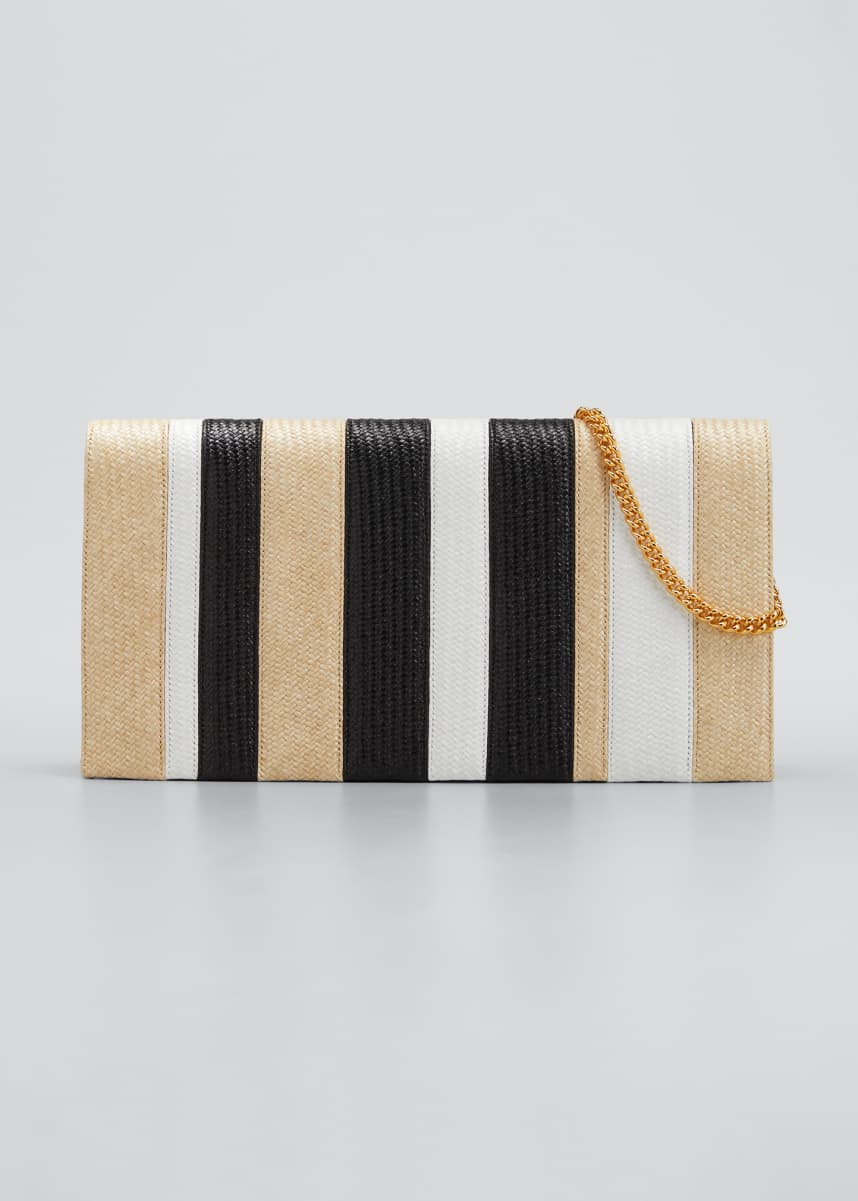 PELLEGRINO Nina Stripe Chain Clutch Bag