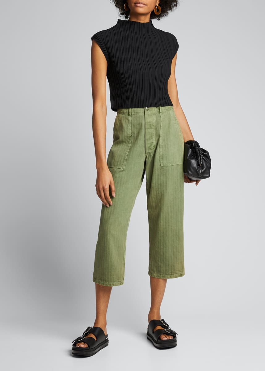 3.1 Phillip Lim Mushroom-Pleated Mock-Neck Crop Tank