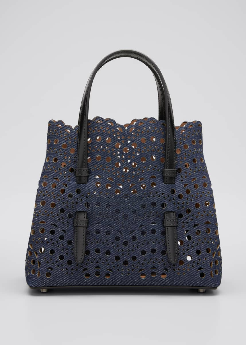ALAIA Mina Mini Laser-Cut Denim Tote Bag