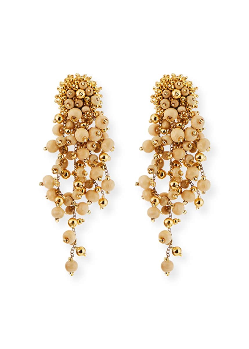 Oscar de la Renta Beaded Cascade Clip-On Drop Earrings