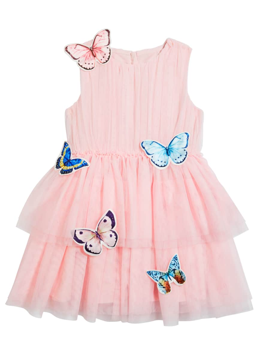 Charabia Girl's Isabella Tulle Butterfly Dress, Size 6-12
