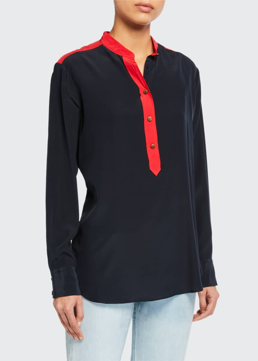 Rag & Bone Scarlet Colorblock Button-Front Blouse