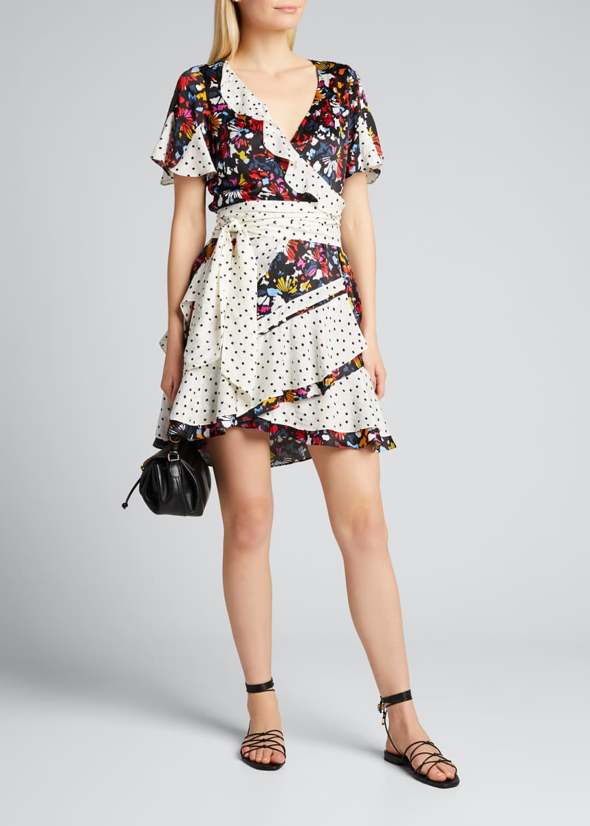 Tanya Taylor Bianka Mixed-Print Ruffle Wrap Dress