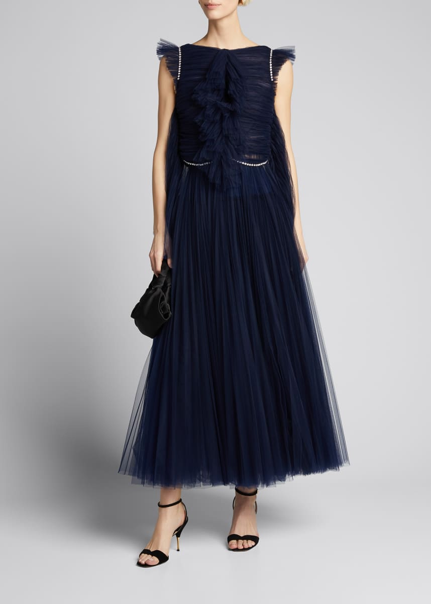 Khaite Paige French Tulle Tea-Length Dress