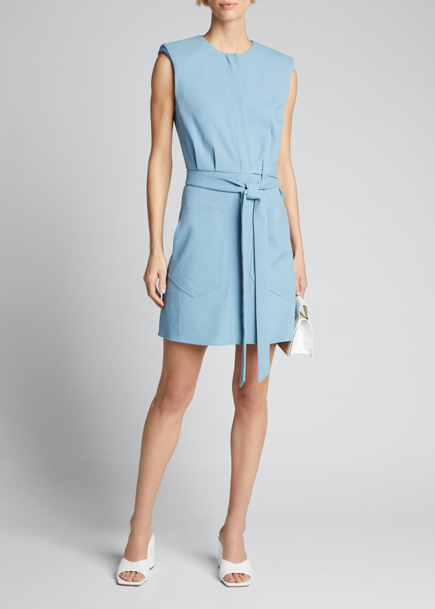 Tibi Chalky Drape Short Shirtdress with Shoulder Pads