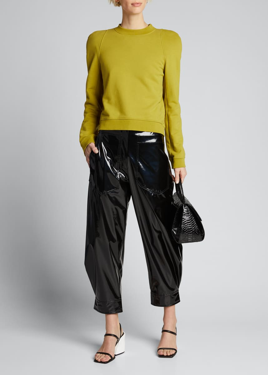 Tibi Patent Sculpted Ankle Pants