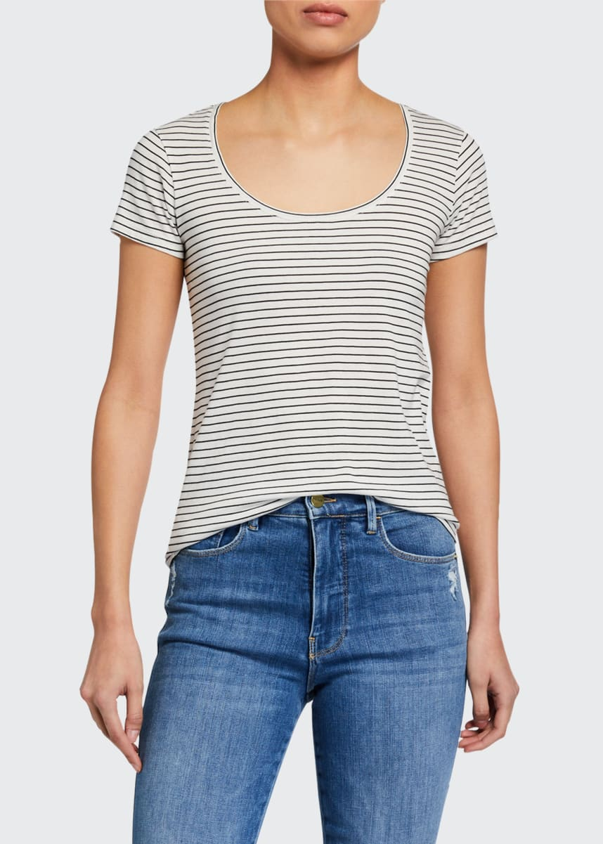 FRAME El Scoop Mid-Rise Striped Tee