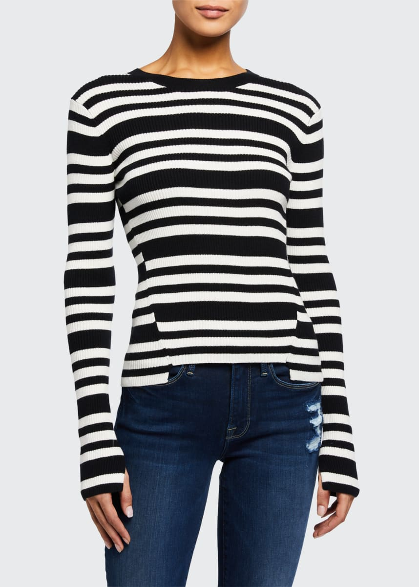 FRAME Le Mix Panel Stripe Long-Sleeve Top