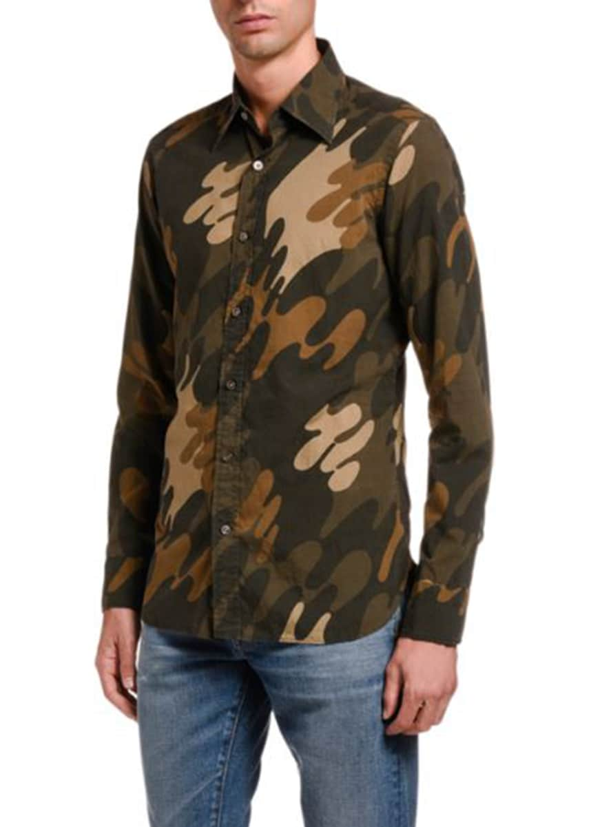 TOM FORD Men's Graphic Paint Wave Sport Shirt