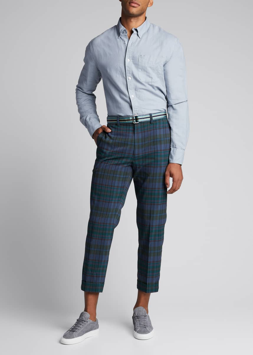 Beams Plus Men's Ivy Madras Check Cropped Trousers