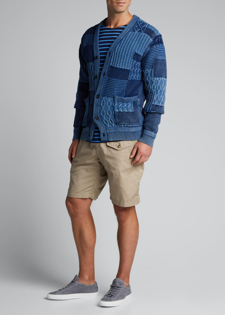 Beams Plus Men's Patchwork Cable Cardigan Sweater