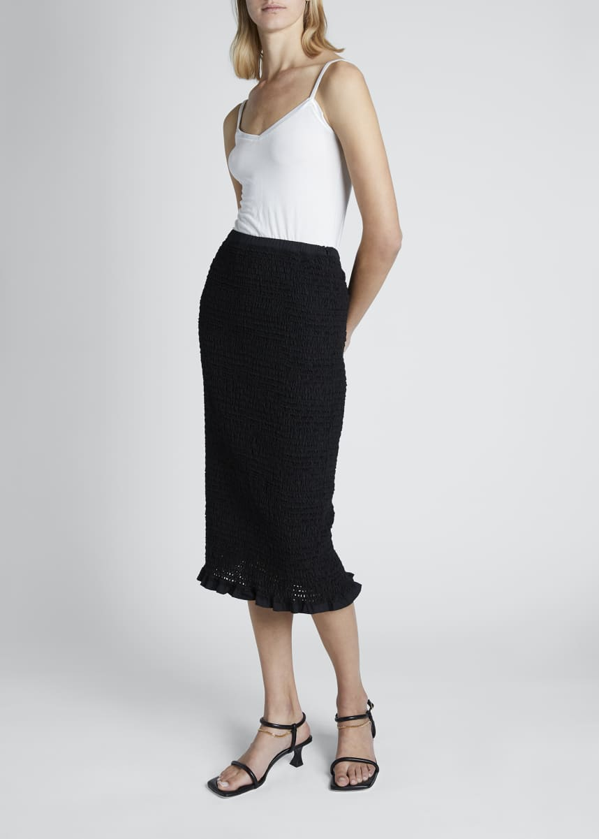 Proenza Schouler White Label Smocked Midi Skirt with Ruffle Hem