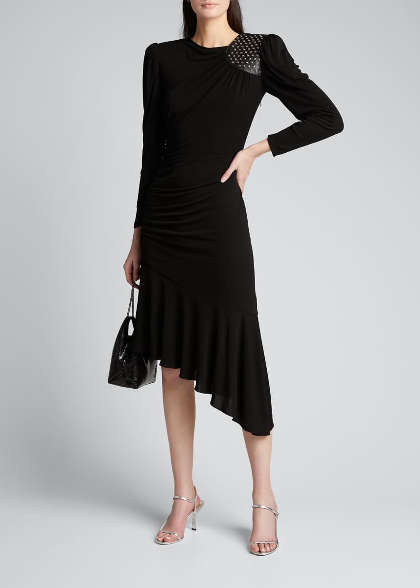 Michael Kors Collection Studded Leather Patch Asymmetric Dress