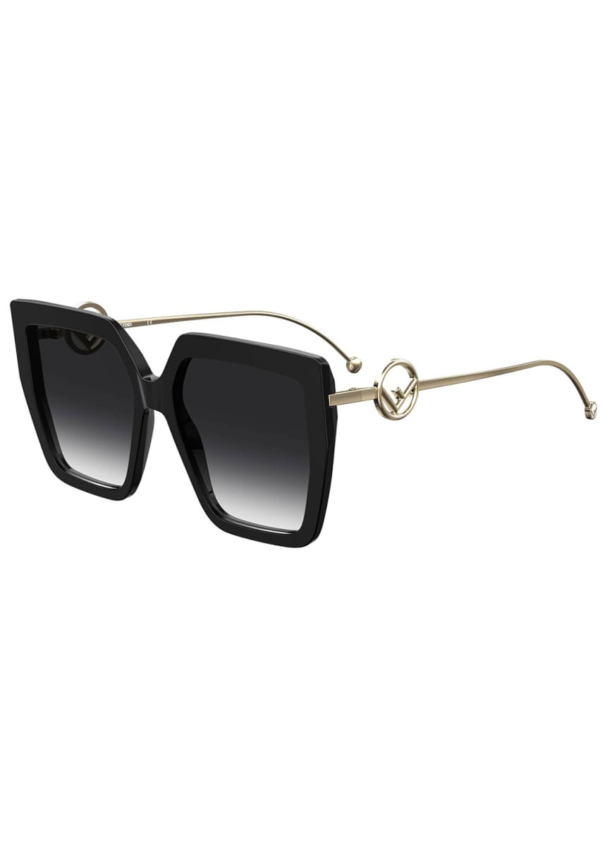 Fendi Square FF Pattern Acetate Sunglasses