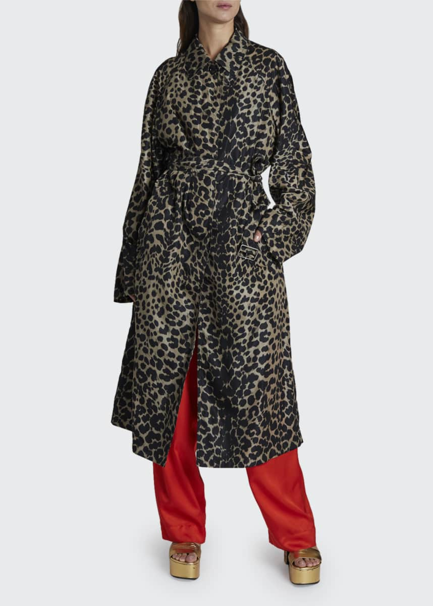 Dries Van Noten Leopard Print Long Rain Coat