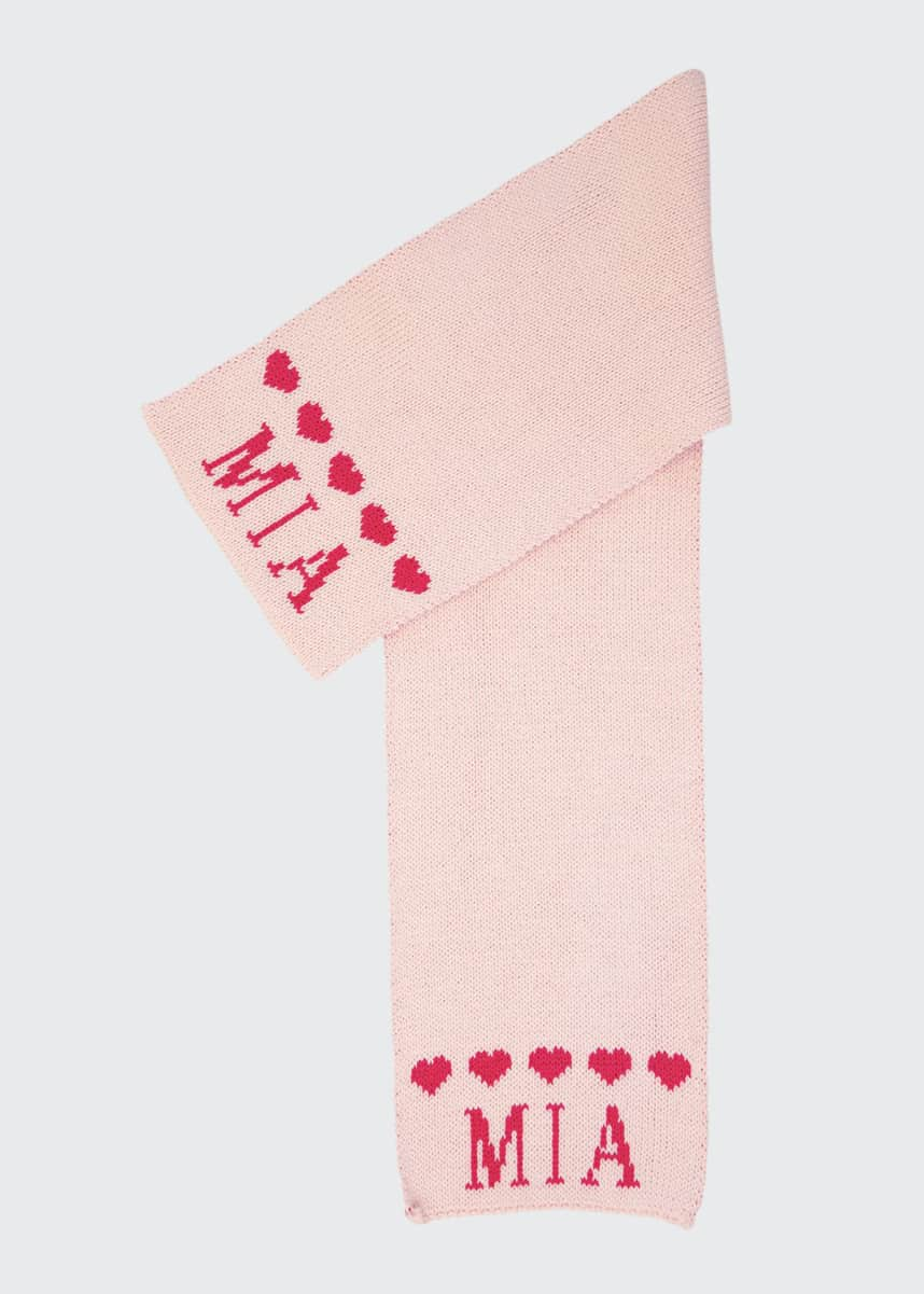 Butterscotch Blankees Kid's String of Hearts Scarf, Personalized