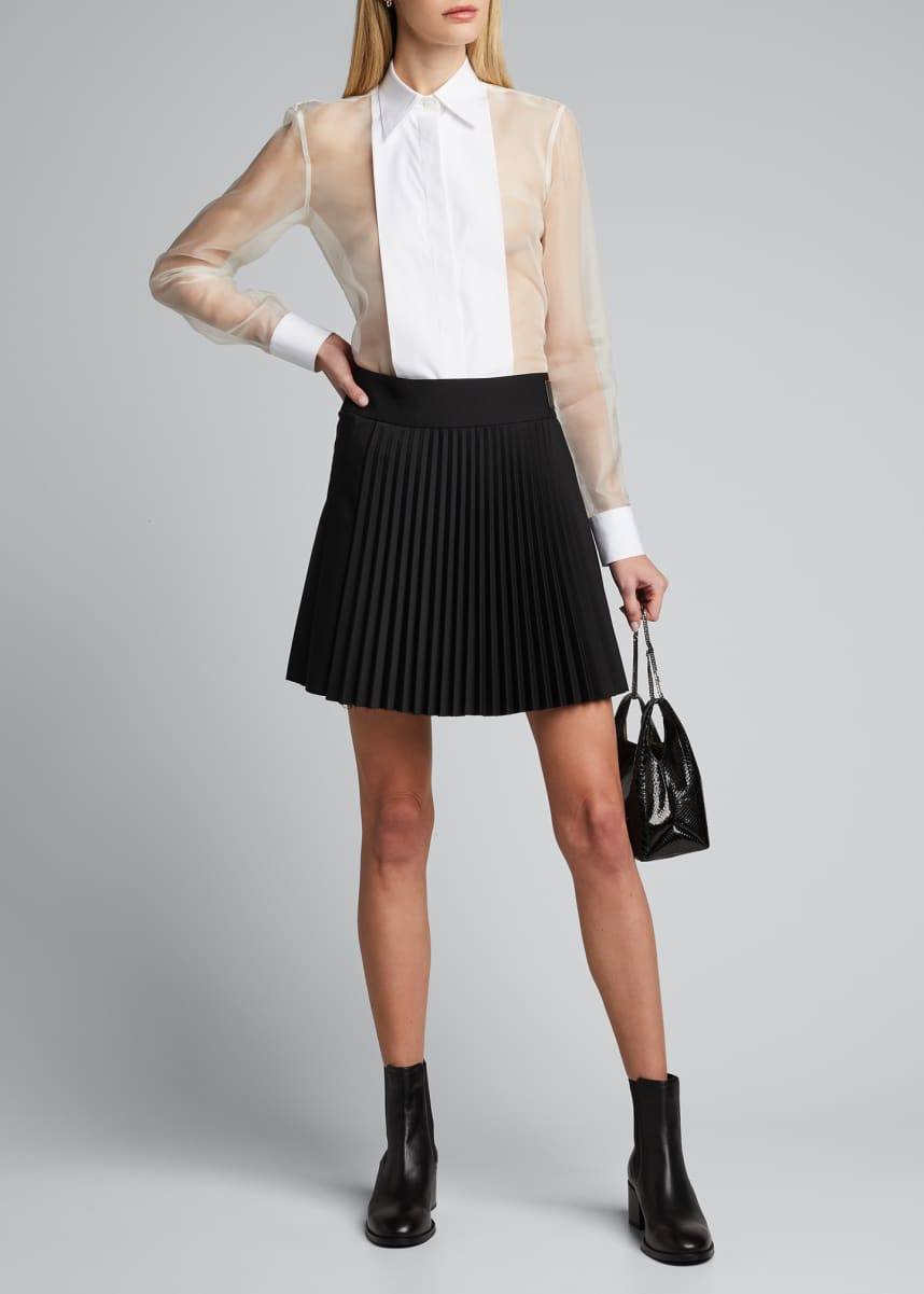 Helmut Lang Pleated Wool Mini Skirt