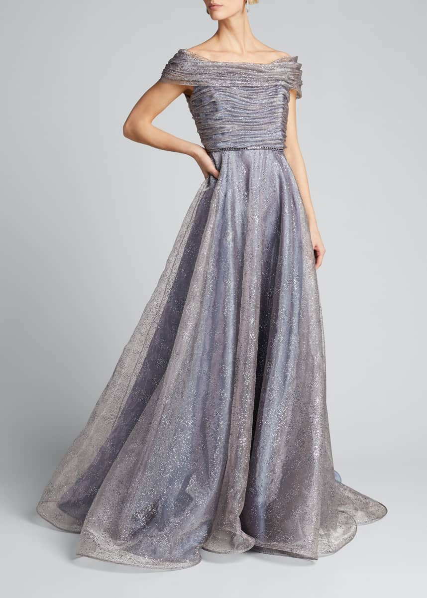 Roland Nivelais Shimmered Tulle Gown