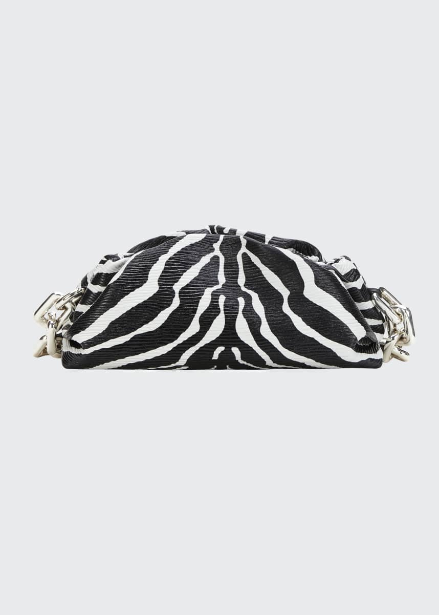 Bottega Veneta The Pouch Medium Zebra-Print Clutch