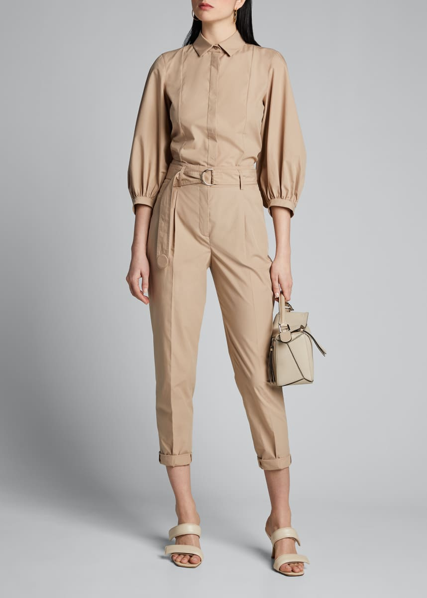 Akris punto Fred Belted Paperbag-Waist Pants