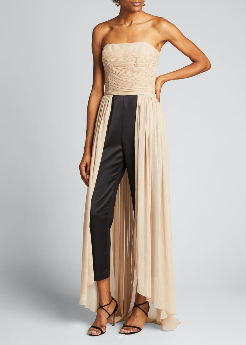 Halston Jumpsuit with Dramatic Pleated Skirt Overlay