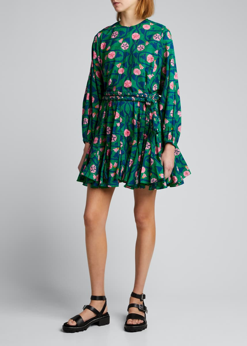 Rhode Ella Printed Fit-and-Flare Long-Sleeve Dress