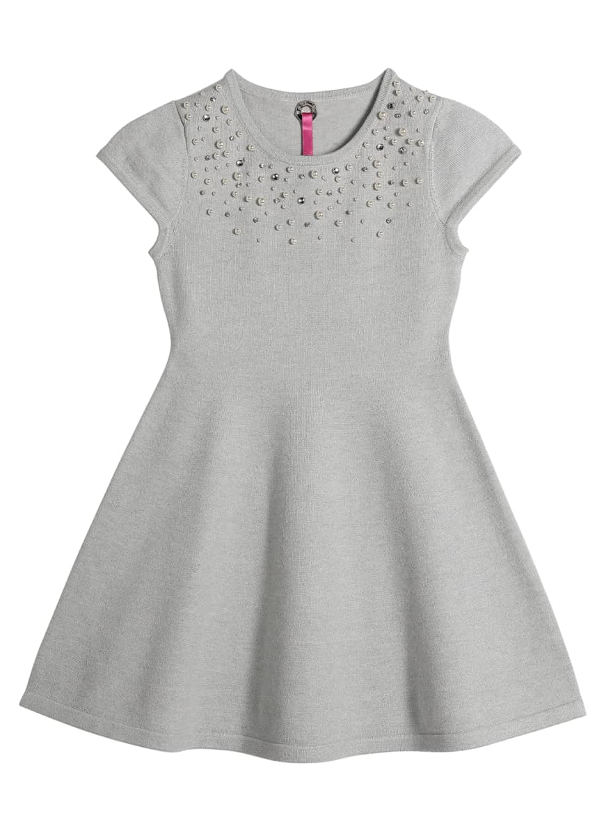 Pink Thread Girl's Faux Pearl Trim Dress, Size 4-16