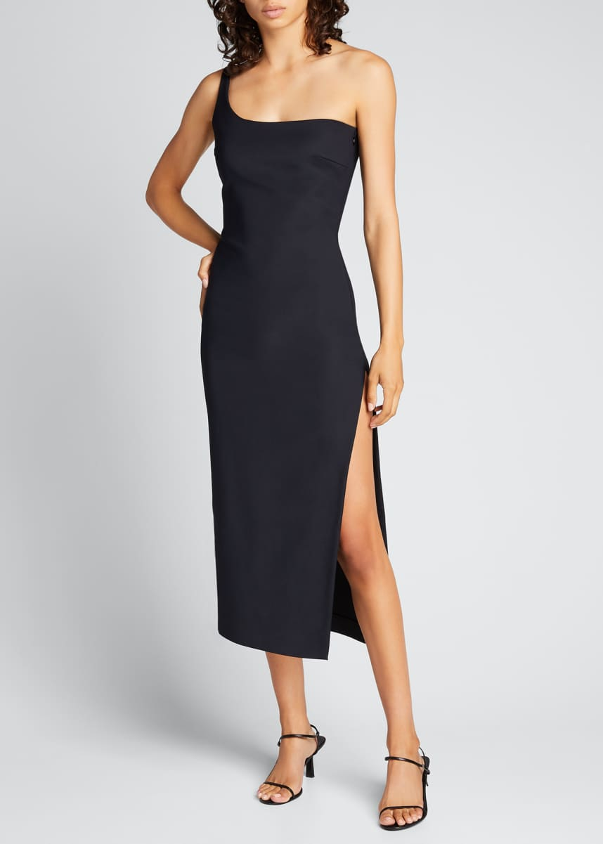 Coperni Motion One-Shoulder Cocktail Midi Dress