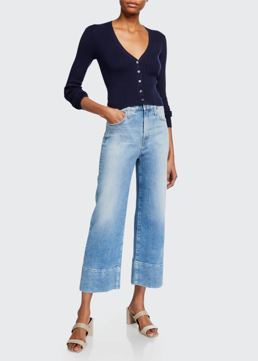 AG Adriano Goldschmied Etta High Waisted Wide-Leg Crop Jeans