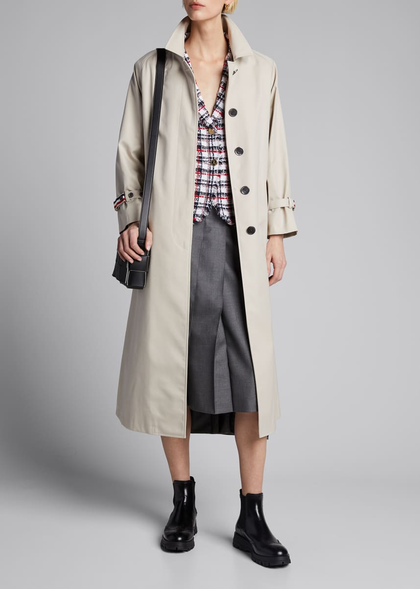 Thom Browne Unconstructed Raglan-Sleeve Trench Coat