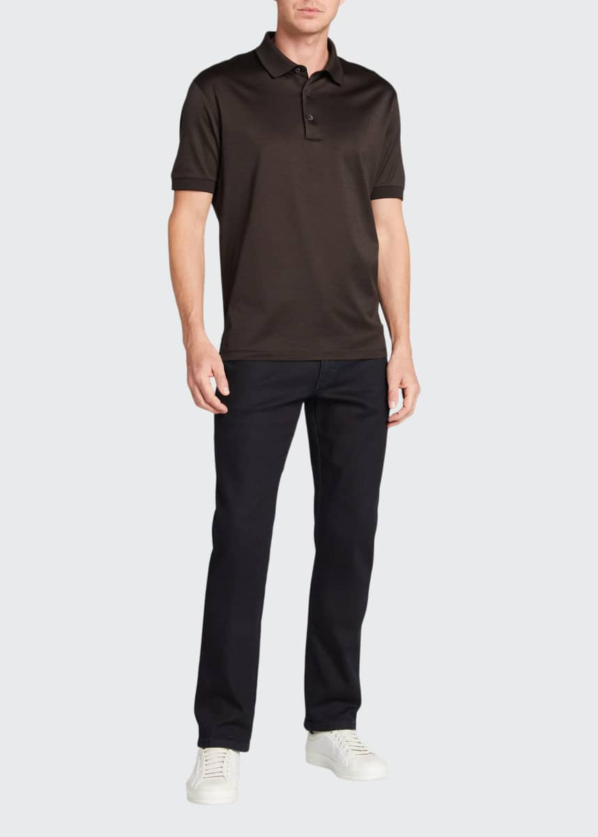 Ermenegildo Zegna Men's Solid Mercerized Cotton Polo Shirt