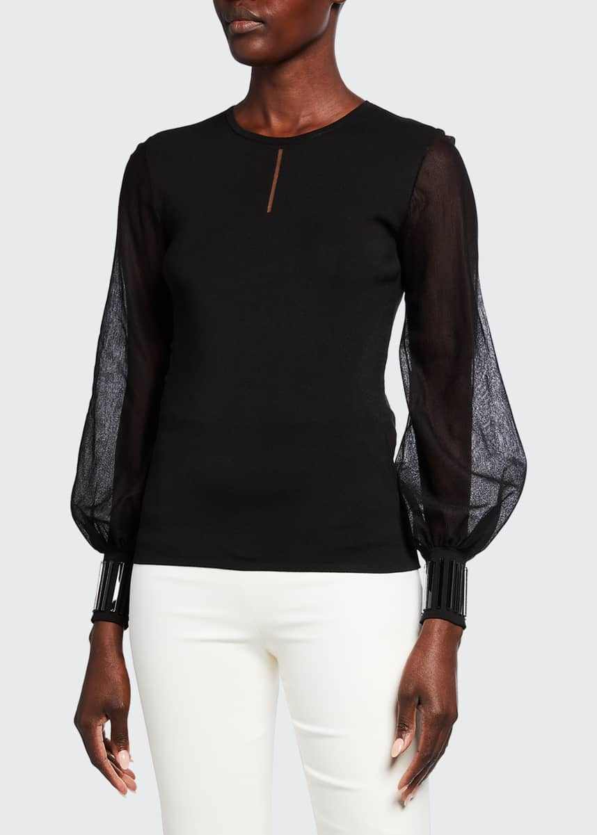Akris Sheer Volume-Sleeve Sweater with Stone Cuffs
