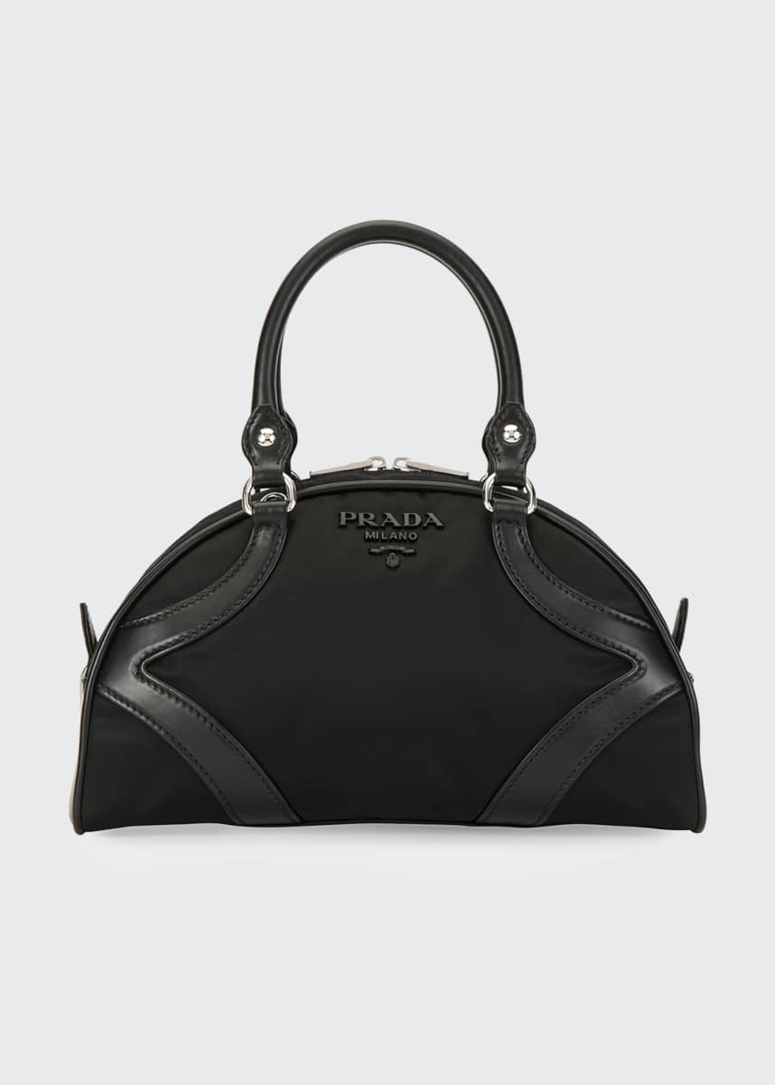 Prada Tessuto Nylon & Leather Bowling Bag