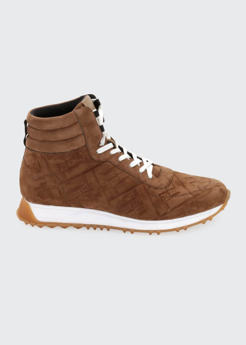 Fendi Men's FF Embossed Suede High-Top Sneakers