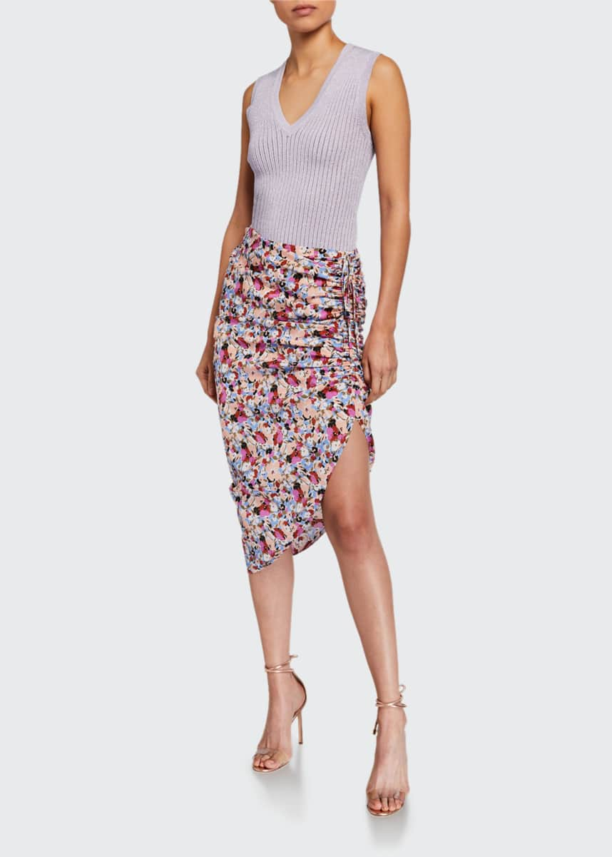 Veronica Beard Ari Ruched Floral Asymmetric Skirt