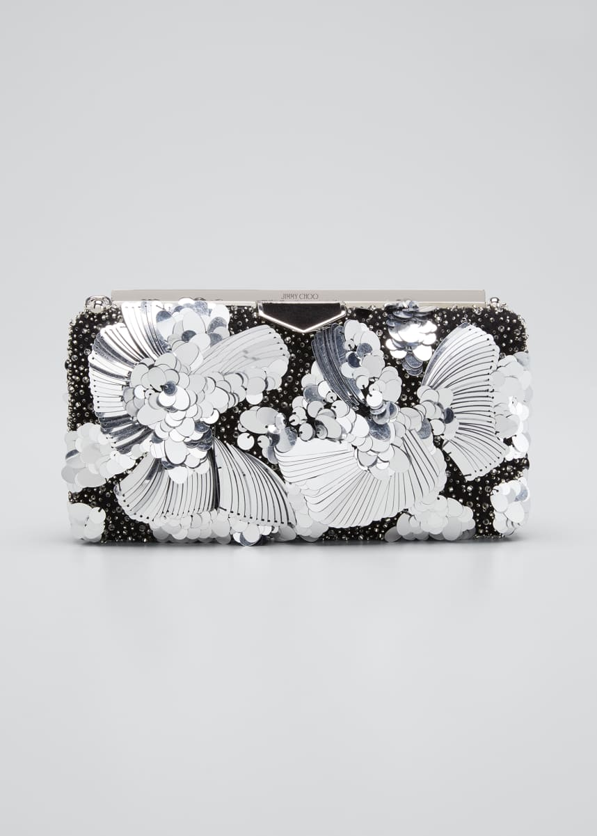 Jimmy Choo Ellipse Yue Clutch Bag with Flower