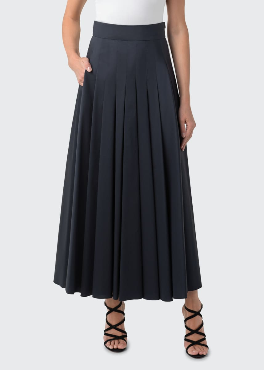 Akris Pleated Long Taffeta Skirt