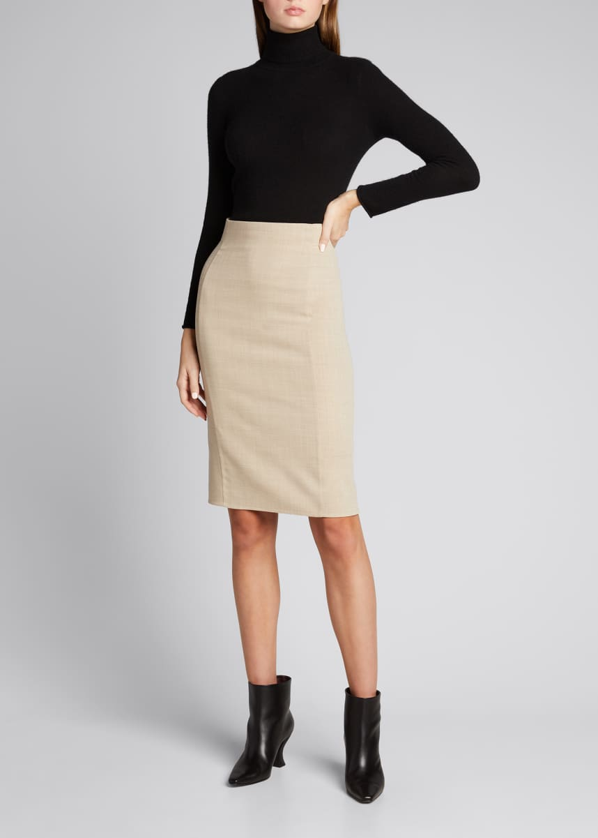 Akris Double-Face Wool Pencil Skirt