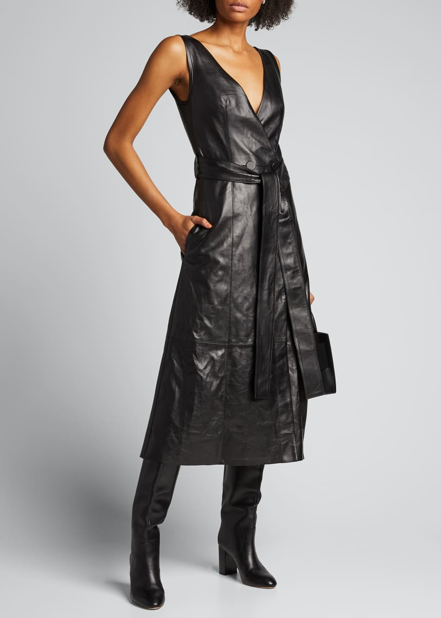 PETAR PETROV Awel Leather Tie-Neck Belted Dress