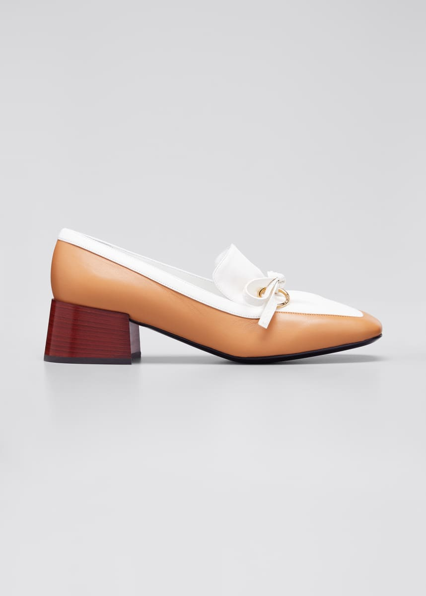 Loewe Bicolor Leather Bow Loafers