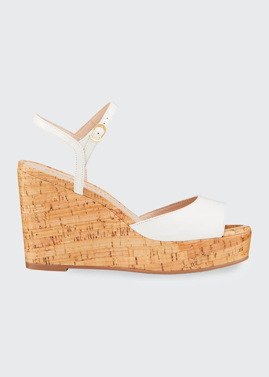 Stuart Weitzman Palmina Wedge Peep-Toe Sandals