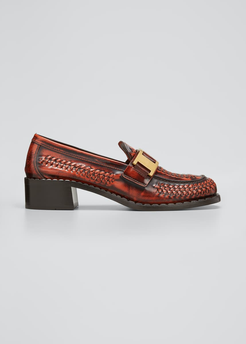 Prada Woven Leather Golden Buckle Loafers