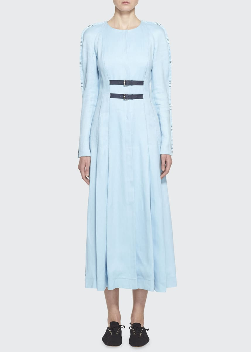 Gabriela Hearst Arianna Linen Raglan-Sleeve Dress