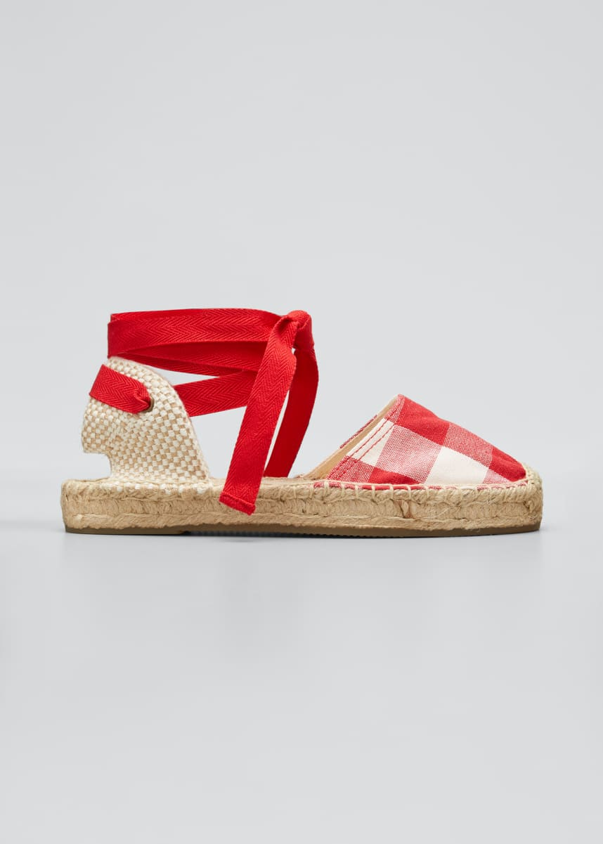 Soludos Lauren Gingham Ankle-Wrap Espadrille Sandals