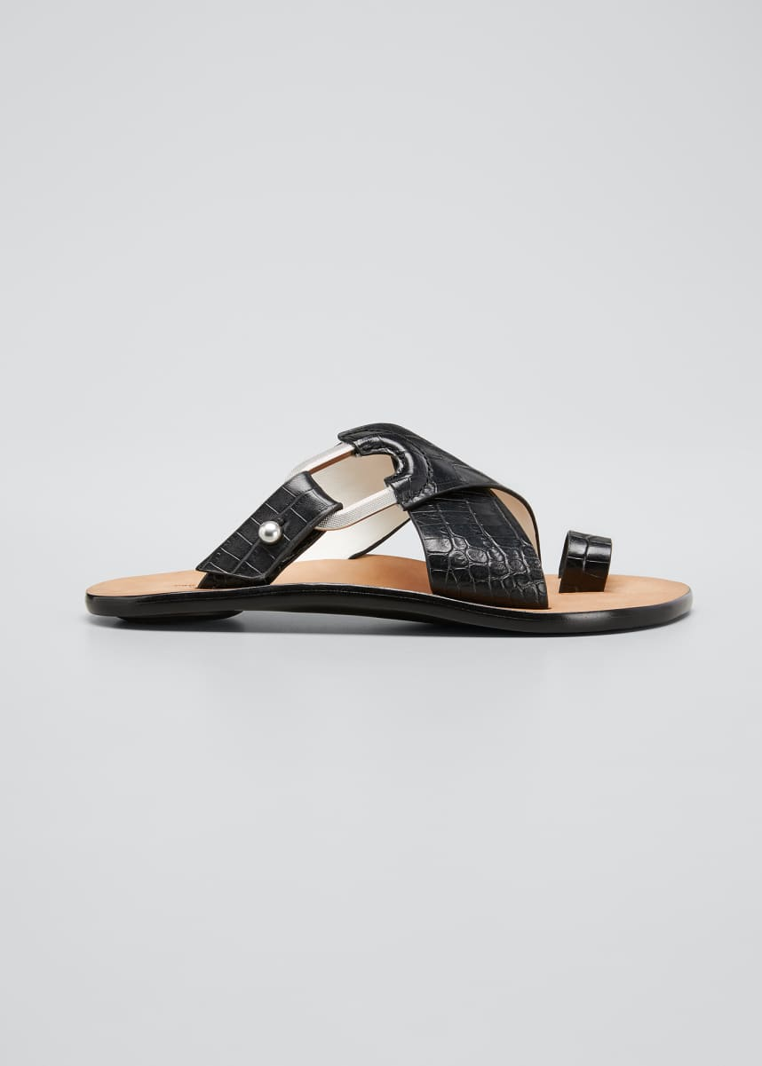 Rag & Bone August Mock-Croc Slide Sandals