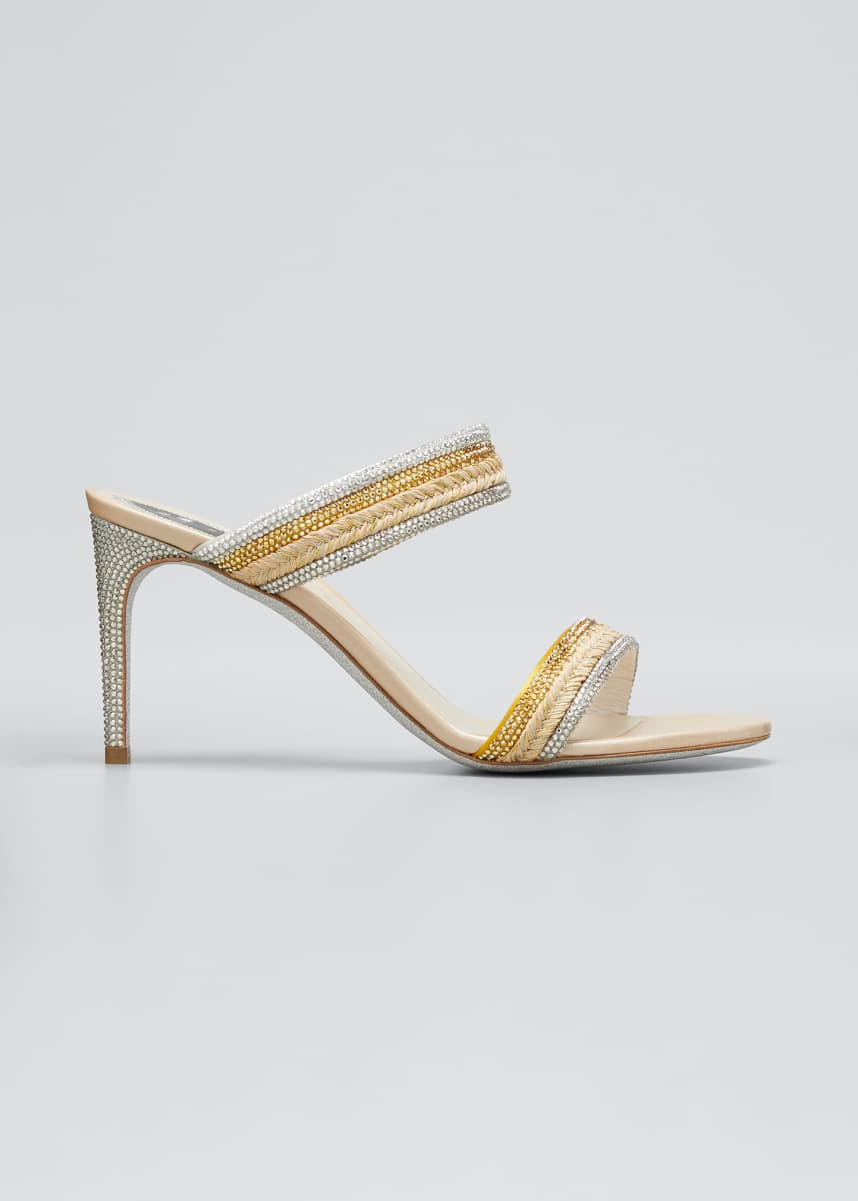 Rene Caovilla 80mm Satin Juta Strass Slide Sandals