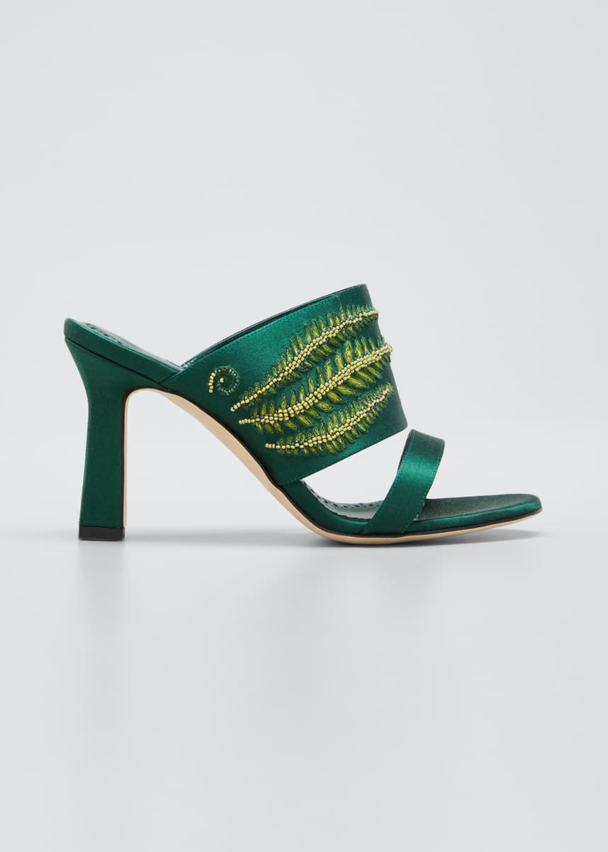 Manolo Blahnik Osmunda Embroidered Slide Sandals