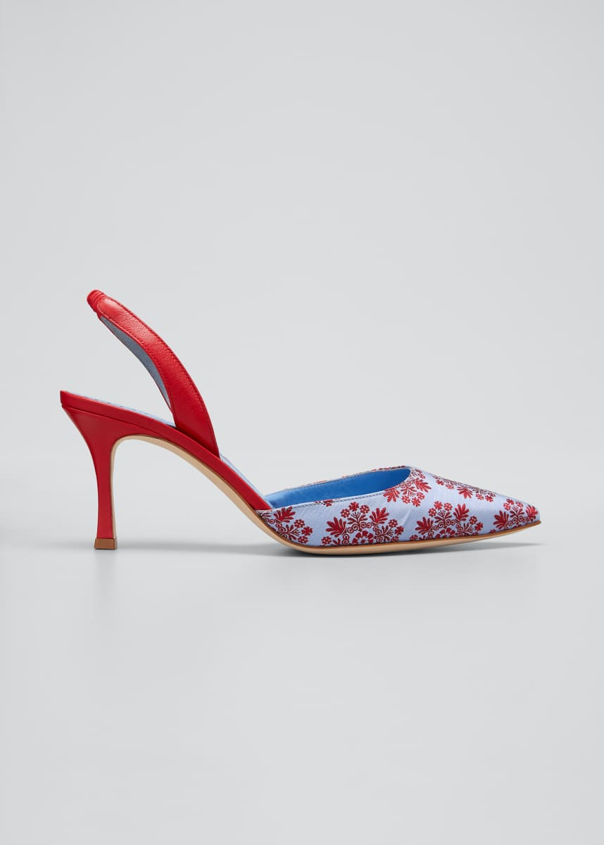 Manolo Blahnik Carolyne Embroidered Silk Halter Pumps