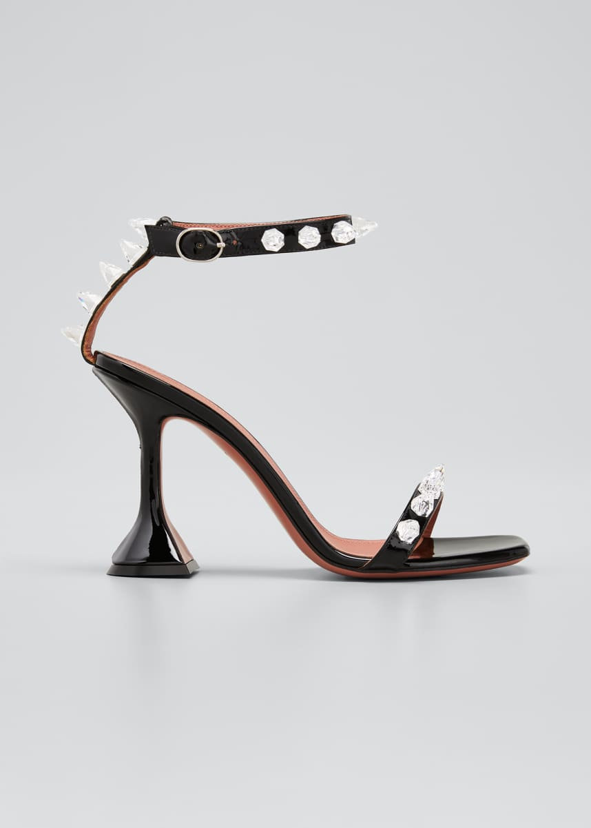 Amina Muaddi Julia 95mm Patent Spike Sandals