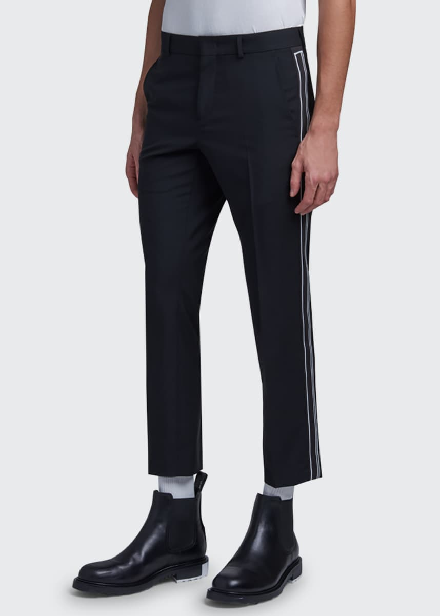 Valentino Men's Slim Cropped Side-Stripe Pants